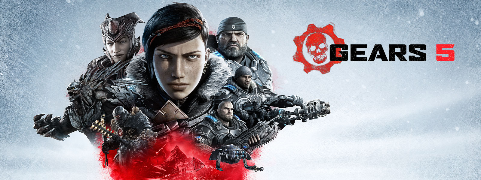 Gears 5 logo and headshot of Kait Diaz in between her enemies and teammates over a snow weathered background
