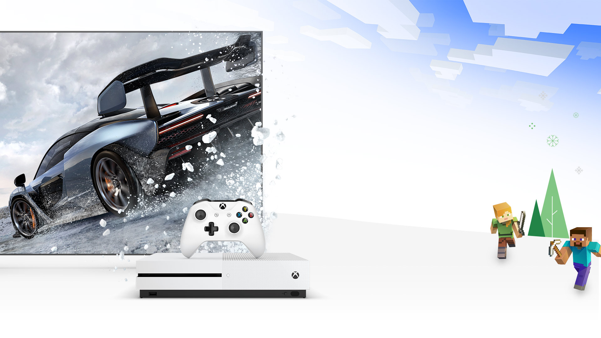 Front view of Xbox One S in front of Forza Horizon 4 Mclaren graphic
