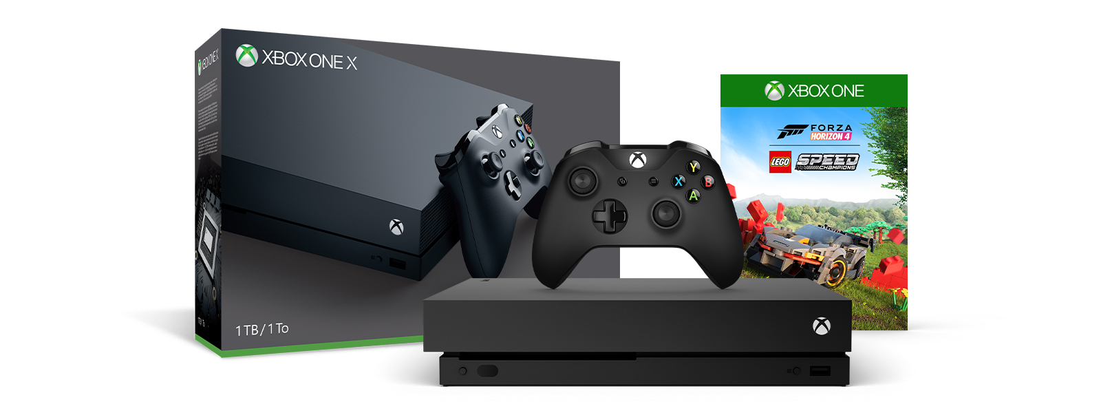 Xbox One X Forza Horizon 4 LEGO® Speed Champions product box and a Xbox One X