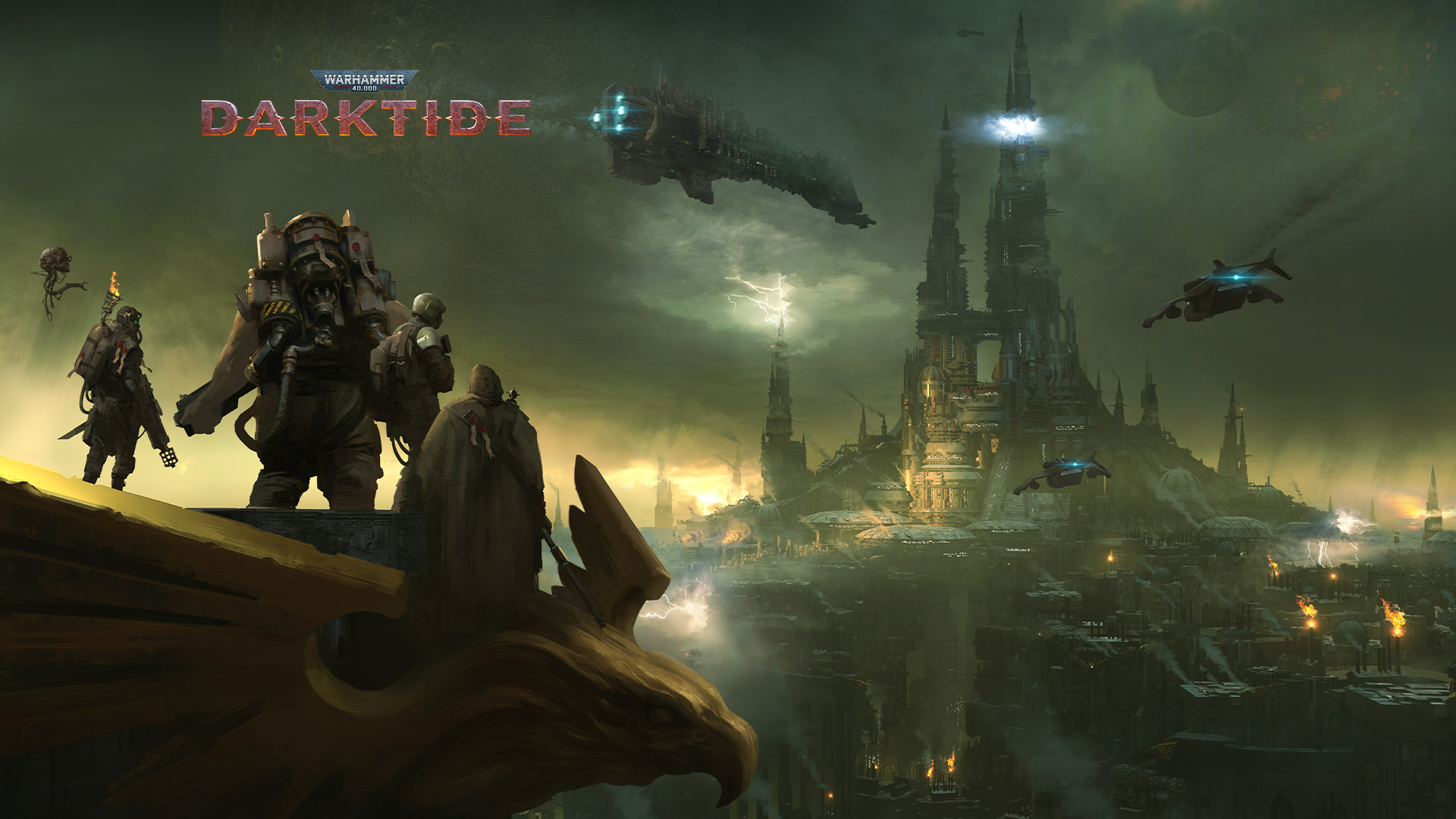 Warhammer 40,000 Darktide, a group of characters overlook a city shrouded in fog.
