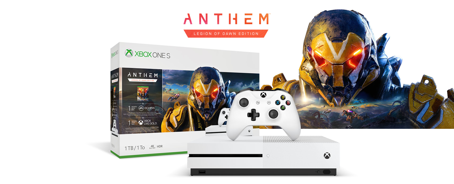 Anthem Legion of Dawn Edition, Xbox One S console with a hardware bundle box featuring Anthem game art