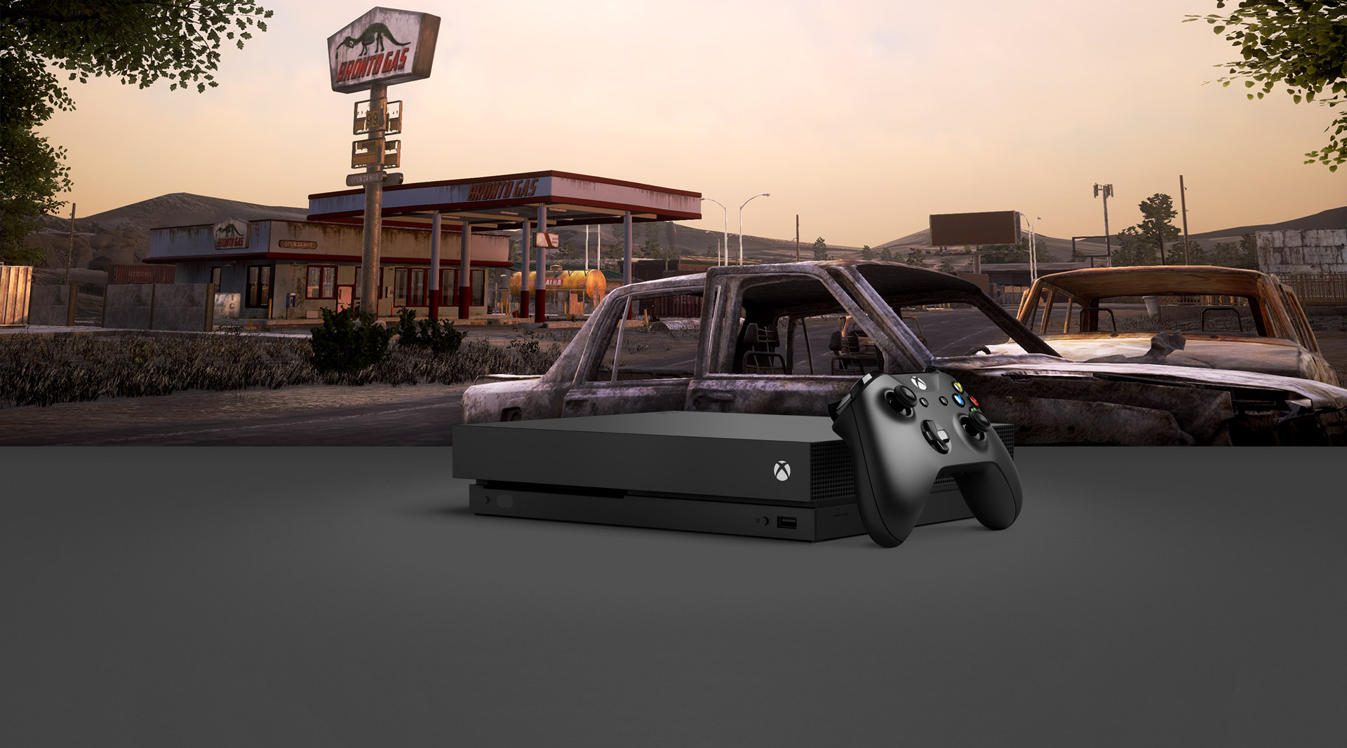 Dramatic scene of abandoned gas station, with two abandoned cars at sunrise, featuring Xbox One X