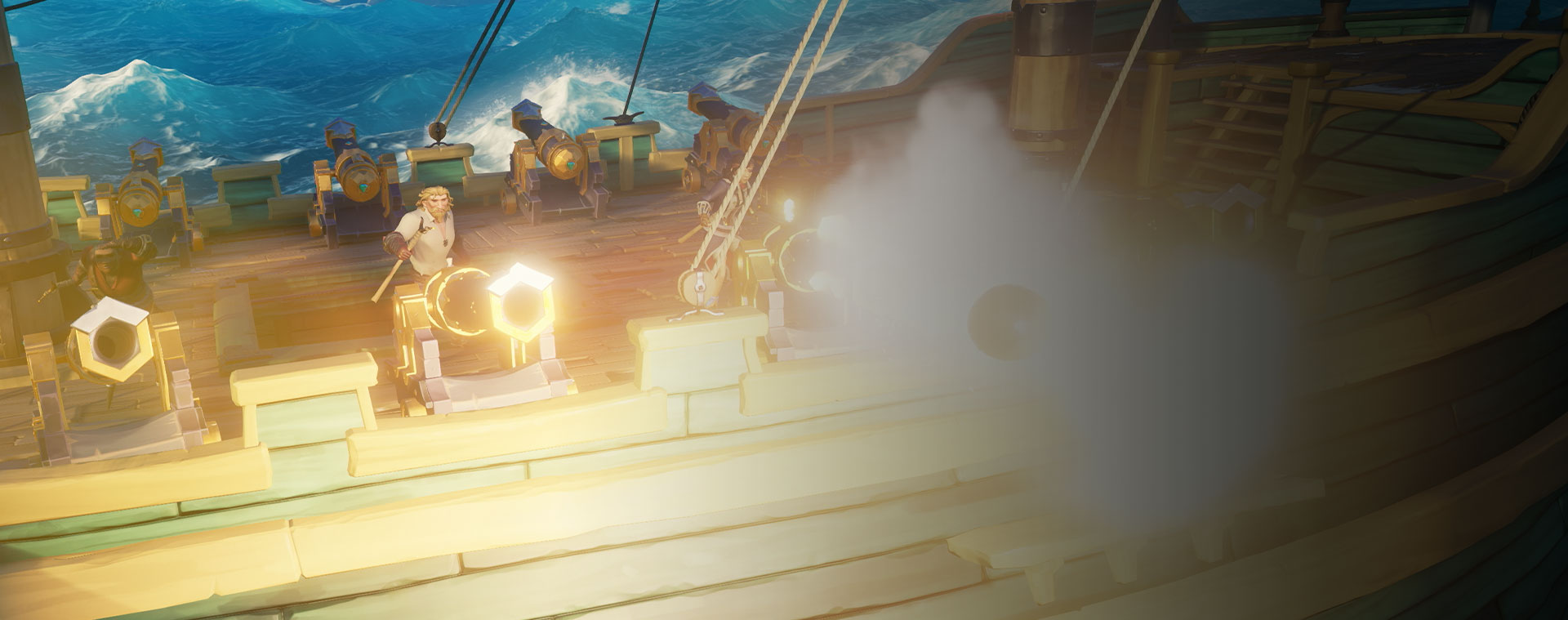 Characters from Sea of Thieves shooting cannons from a ship