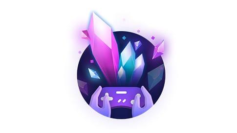 Logotipo de geode controle e roxos