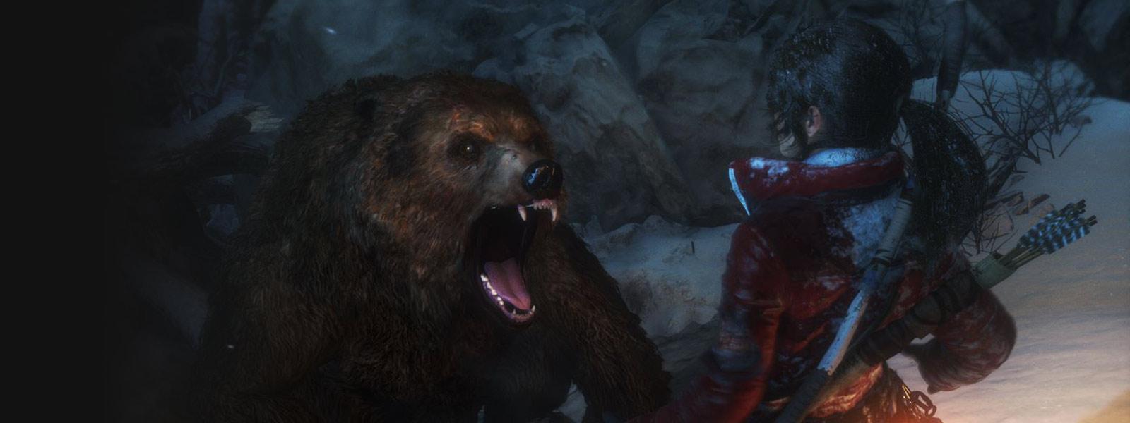 Lara affrontant un énorme grizzly