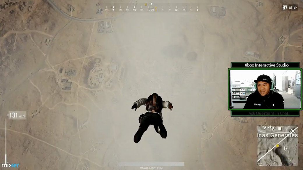 Stream of man playing PUBG, his character is skydiving toward Earth