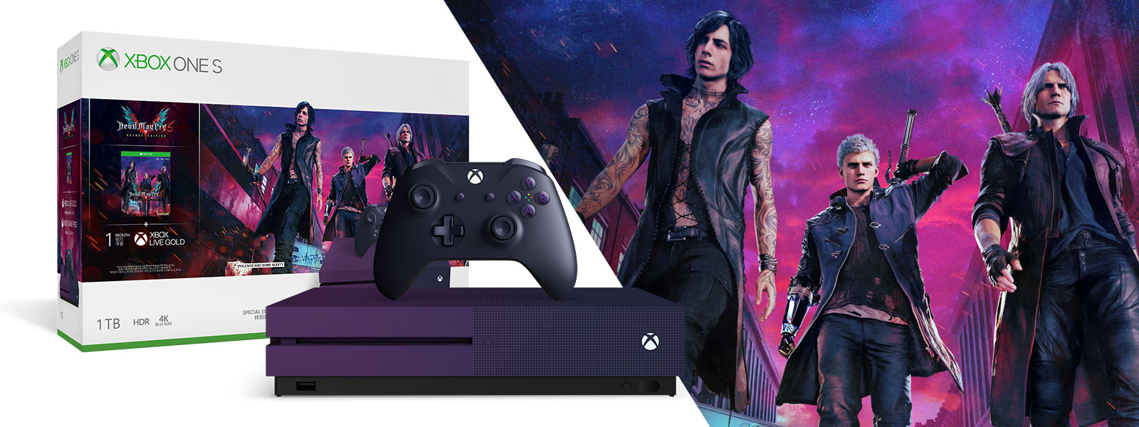 Devil May Cry bundle box and purple console with controller with front view of demon hunters Nero, Dante and V