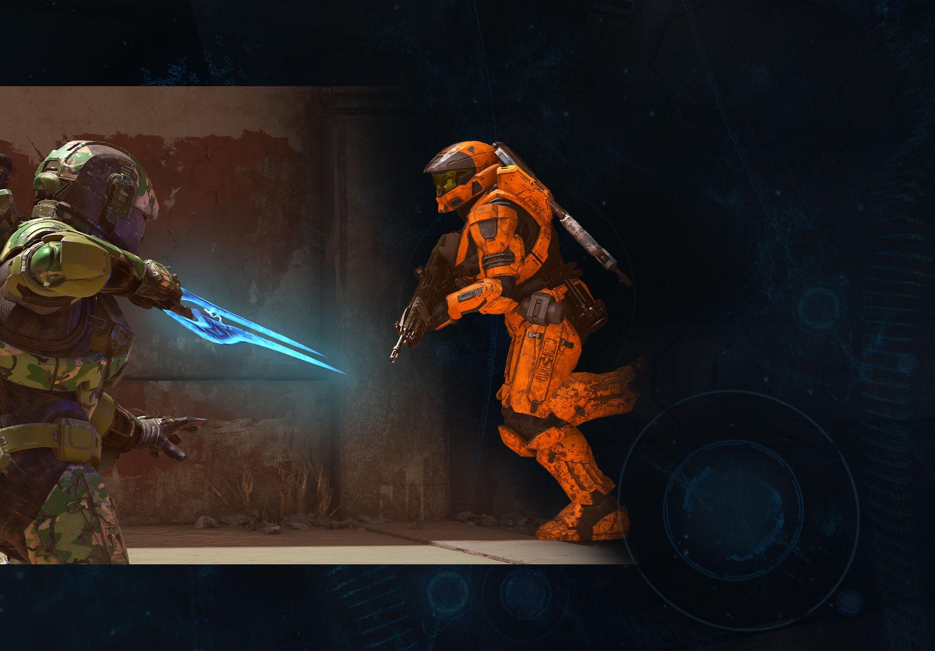 Uno Spartan in tenuta mimetica con una spada insegue un altro Spartan
