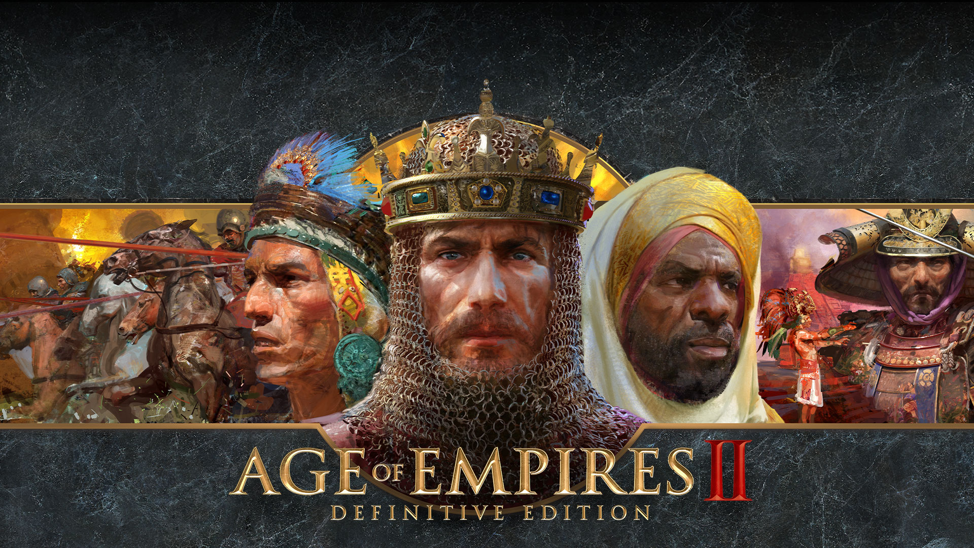 Age of Empires II Definitive Edition logo with artistic renderings of warring factions