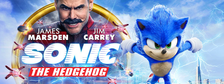 Sonic the Hedgehog starring James Marsden and Jim Carrey. Sonic runs away from rockets in front of a cityscape.