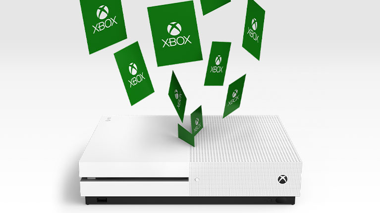 Digitale Xbox-Karten in einer Xbox One S-Konsole
