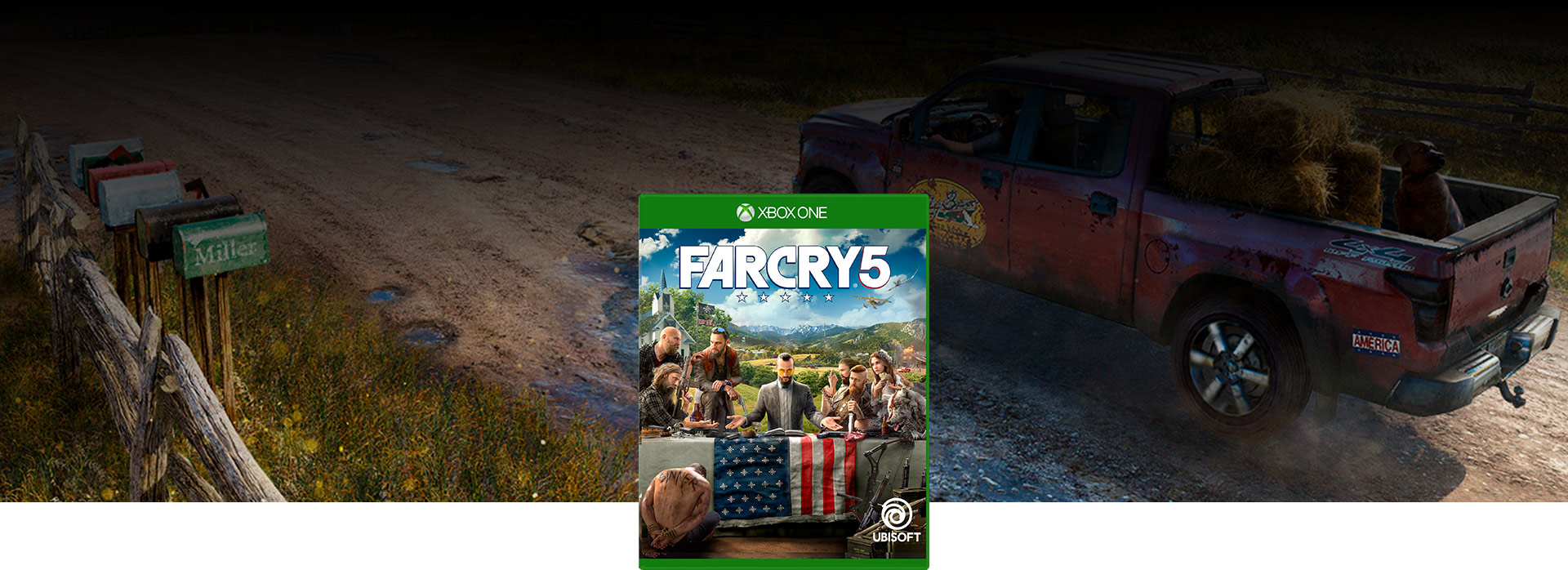 Far Cry 5 boxshot over background of pickup truck with dog and hay in flatbed driving down dirt road.