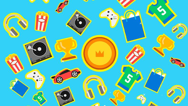 Iconos que representan artículos y mercancías ganados con puntos de recompensa