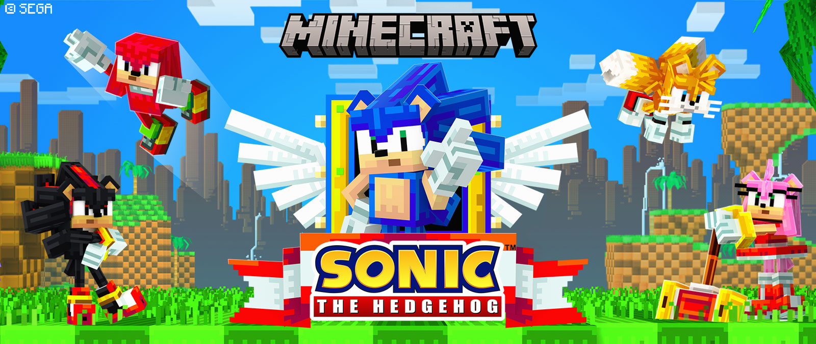 Copyright Sega. Minecraft Logo. Sonic Logo. Sonic the Hedgehog and other characters in Minecraft style on land by water.