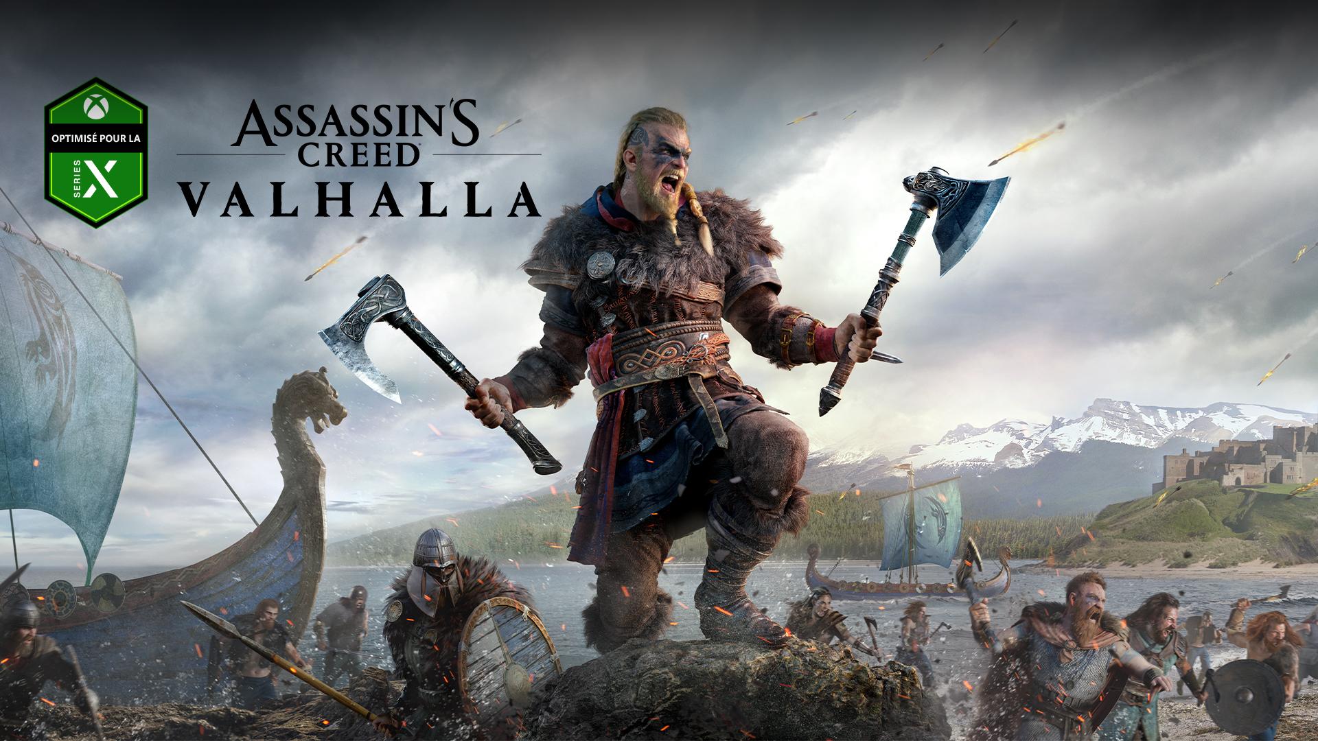 Logo Optimisé pour la Xbox SeriesX, Assassin's Creed Valhalla, personnage avec deux haches pendant la bataille
