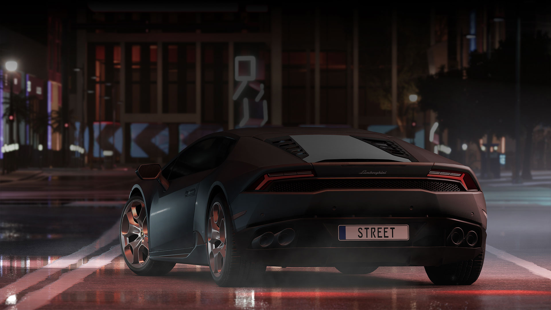 Black Lamborghini Huracan on a street