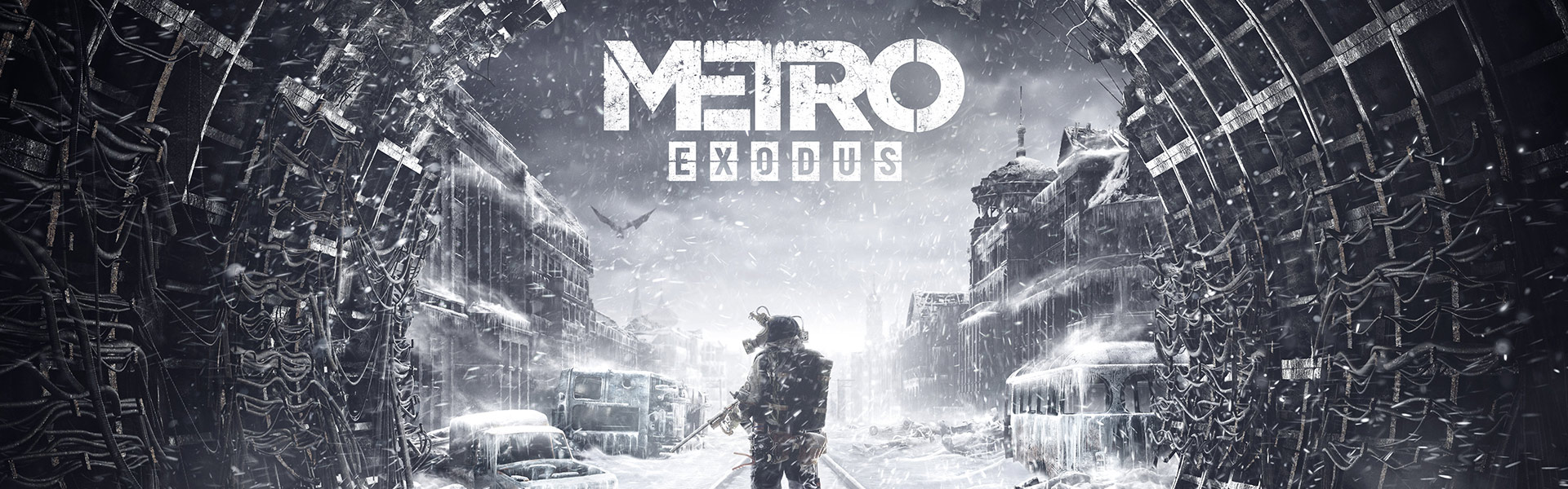 Metro Exodus, A man holding a gun stands on snow covered tracks in a tunnel