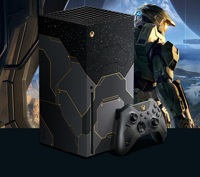 Une console XboxSeriesX ainsi qu'une manette