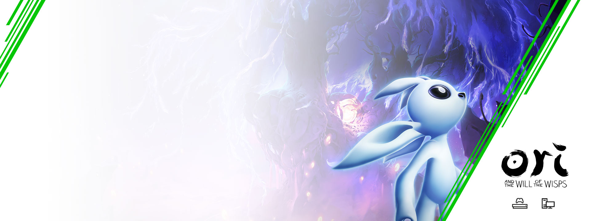Ori z hry Ori a Will of the Wisps so stromom v pozadí. Logo Xbox Game Pass, Xbox One a PC.