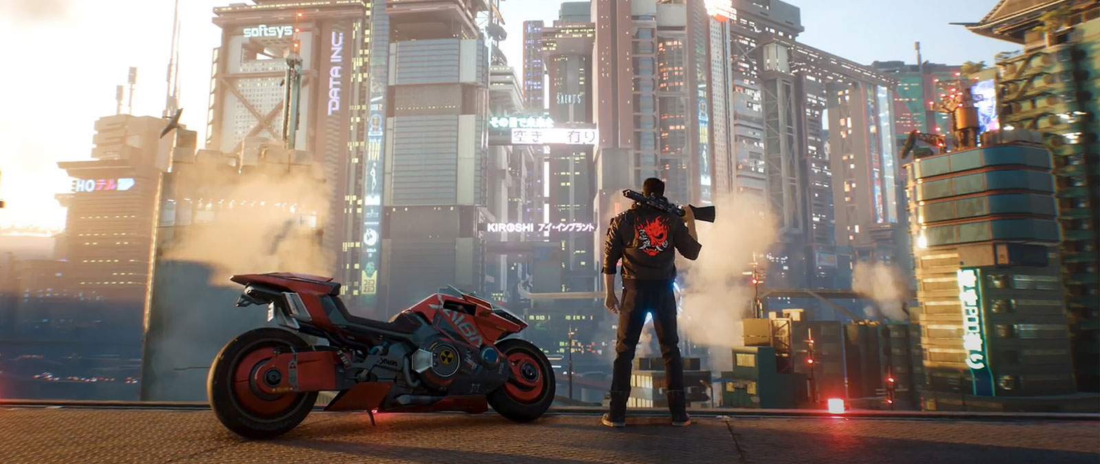 V looks at Night City with a shotgun on his shoulder while standing next to a motorcycle