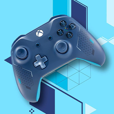 Sport Blue Xbox Controller against a geometric art background