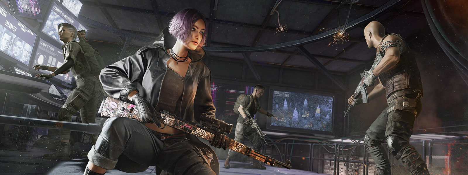 Four characters gather with guns in a warehouse with tech in the background.