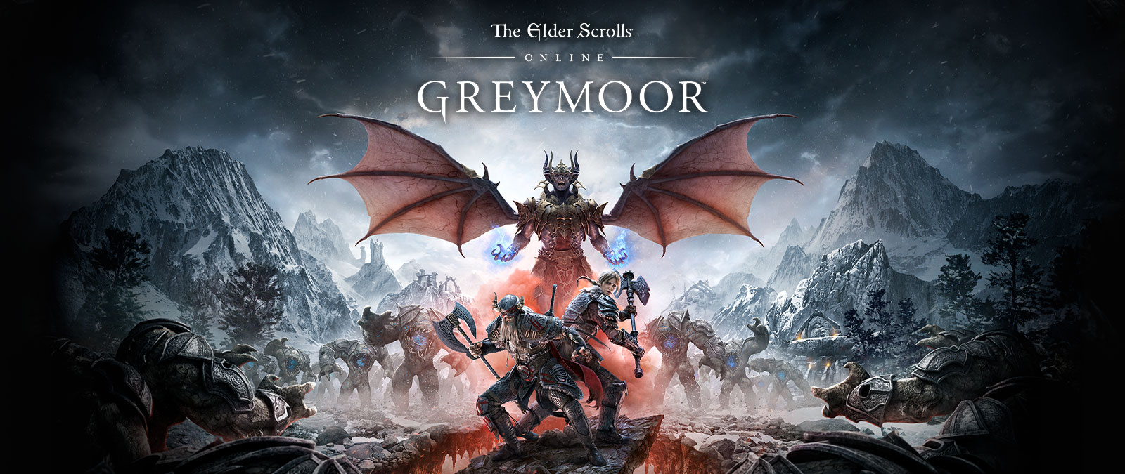 The Elder Scrolls Online Greymoor,角色站在一塊岩石上,背景是 Greymoor