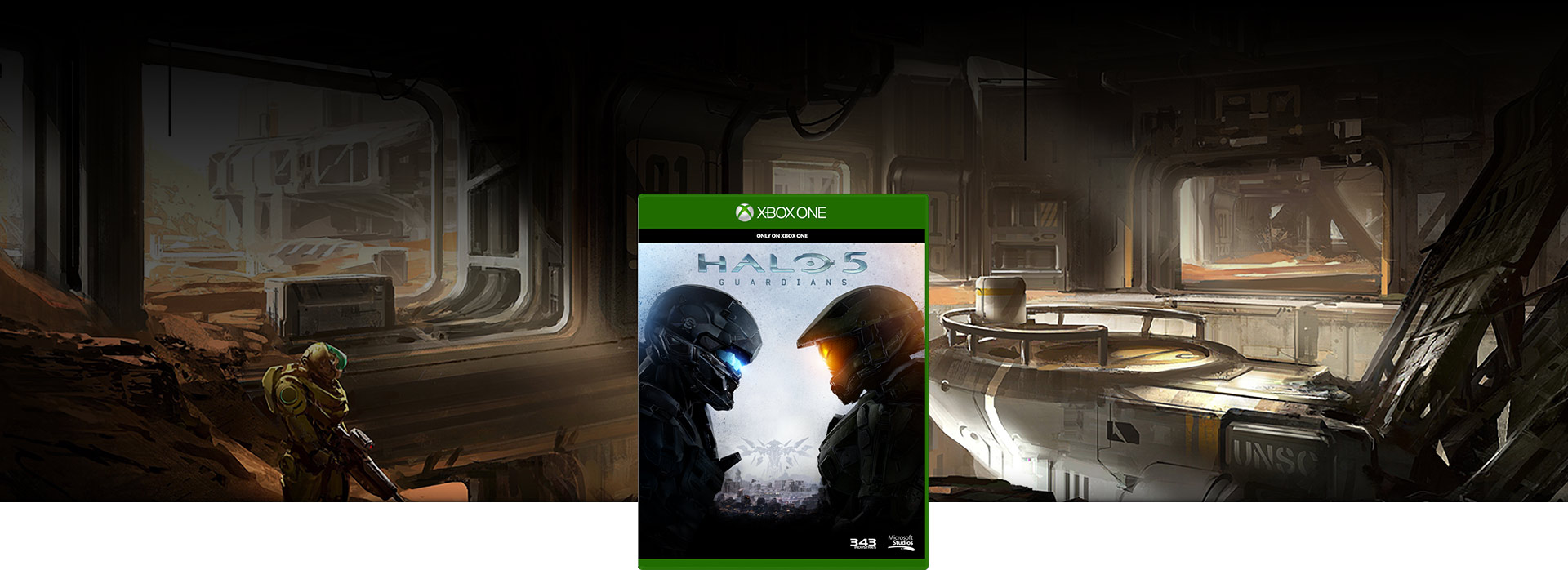 Halo 5 Guardians Box shot, over a background of concept art for riptide battlemap scene