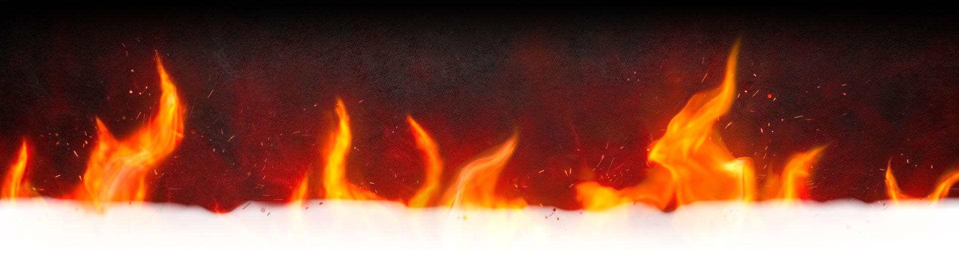 Une bannière de flammes s'estompant vers le blanc.