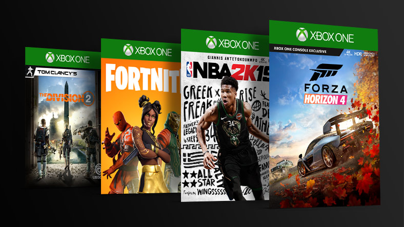 Four Xbox One games lined up diagonally behind each other