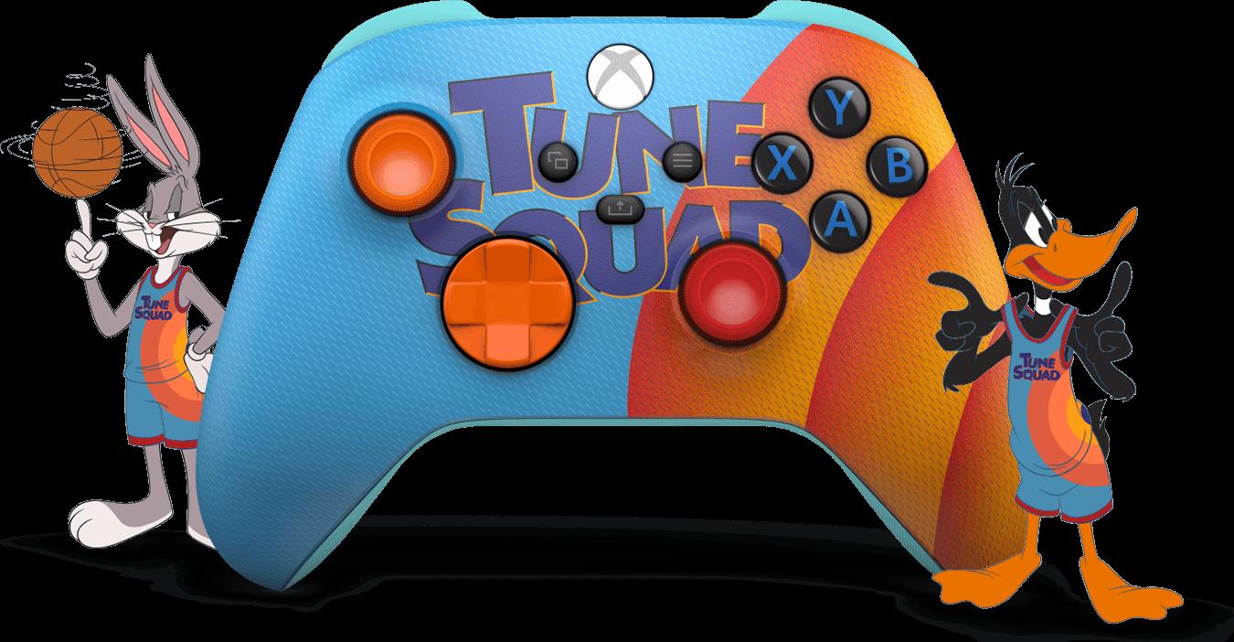 Blauer und oranger Space Jam A New Legend Tune Squad Exclusive Edition Xbox Wireless Controller, mit Cartoon-Mitgliedern der Tune Squad