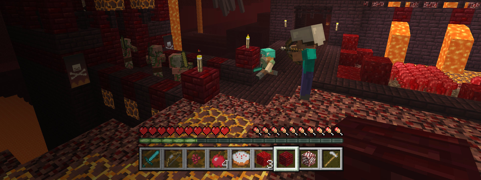 Minecraft more fun with friends, Minecraft characters in a battle