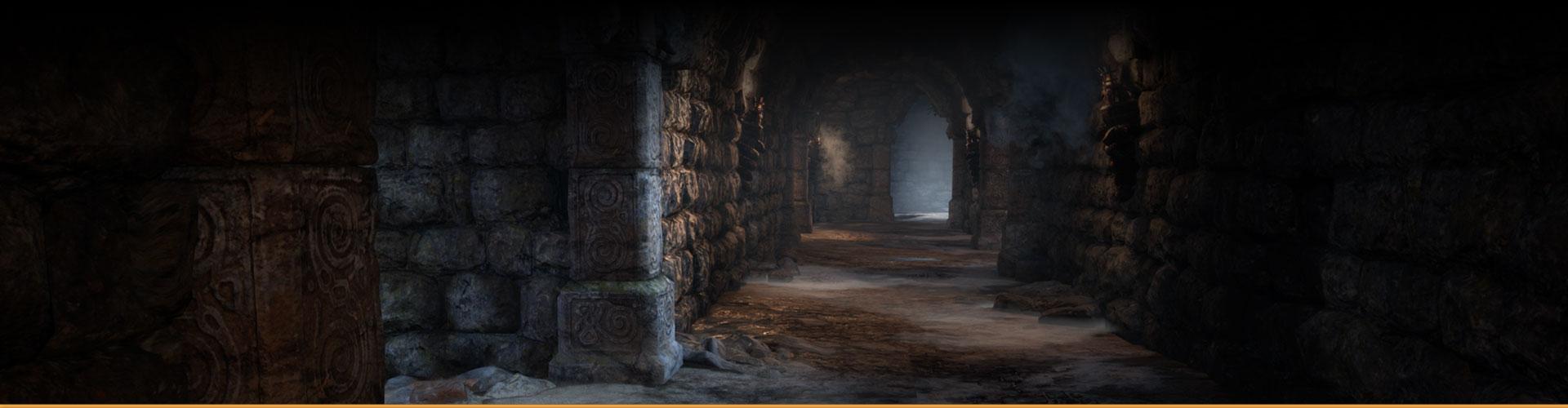 Empty, dimly lit hallway made of stone