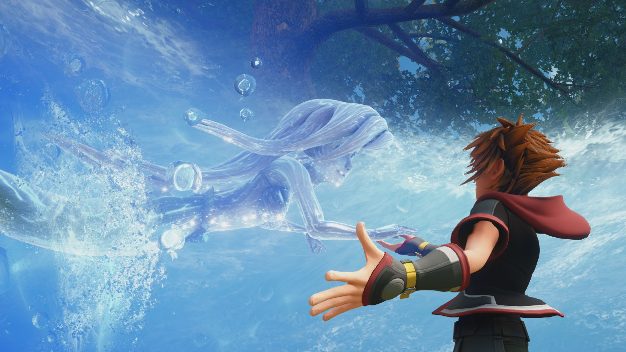 Sora stands in a circle of Water as Ariel, made of water, reaches out to him