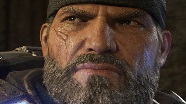 Grande plano da cara de Marcus Fenix, do Gears of War