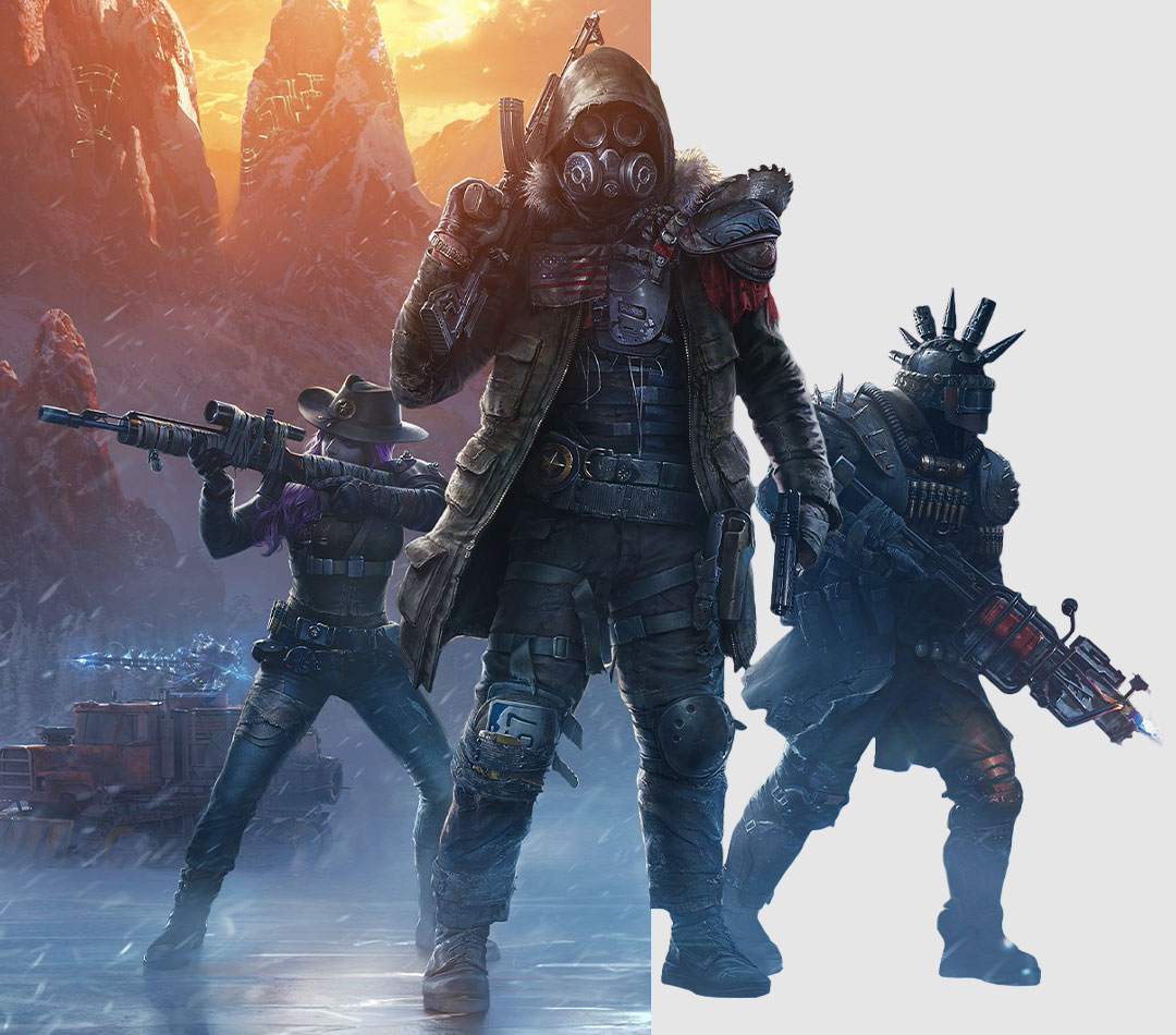 Wasteland 3, Heavily armed characters in a snowstorm at night