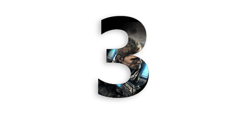 the number three with a character from Gears 4 inside the number