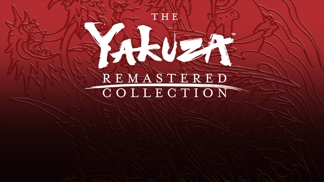 Texto sobre fondo de dragón rojo, The Yakuza Remastered Collection, marca comercial