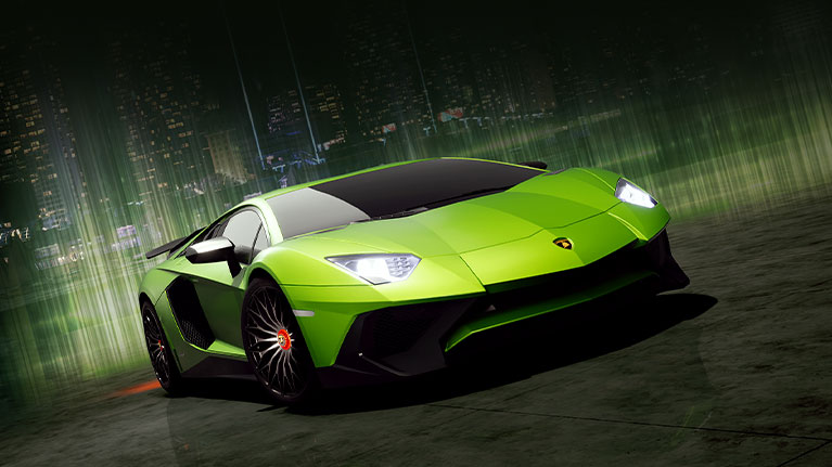 Front view of a green Lamborghini