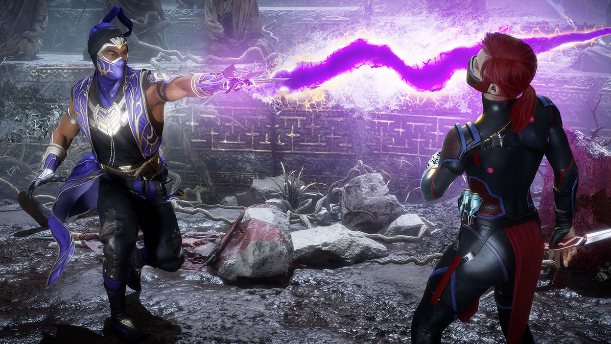 A character shoots a large purple lightning bolt at another character.