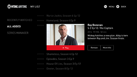 SHOWTIME ANYTIME My List and Series Manager