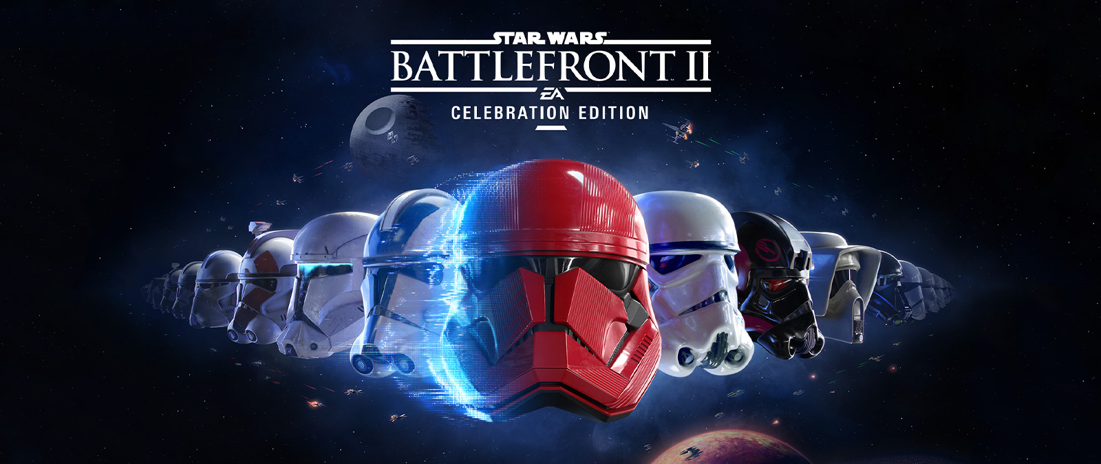 Star Wars Battlefront 2, line-up of many different stormtrooper masks with the galaxy in the background