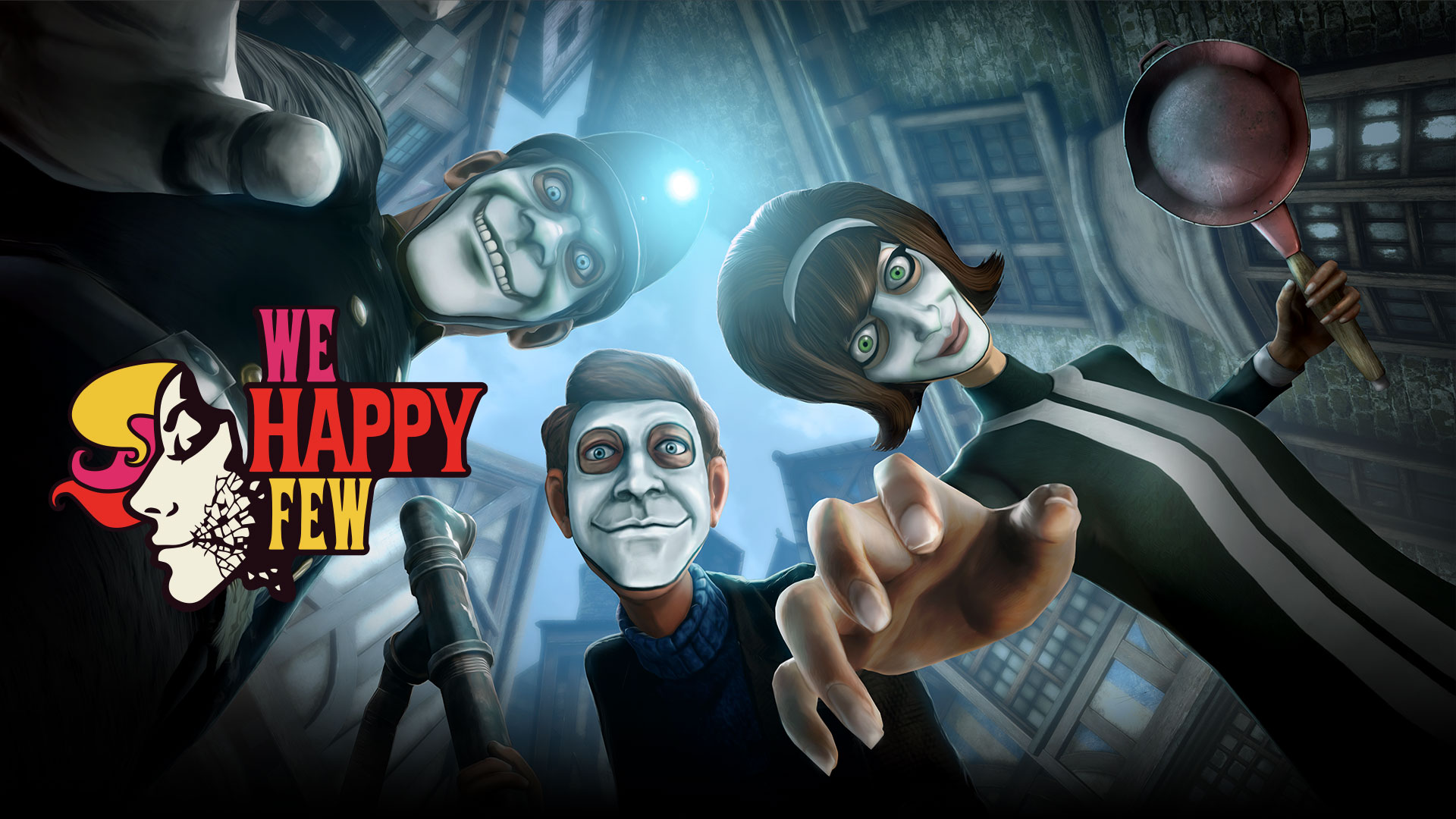 We Happy Few. A wellie and two characters with white smiling masks looking down on you