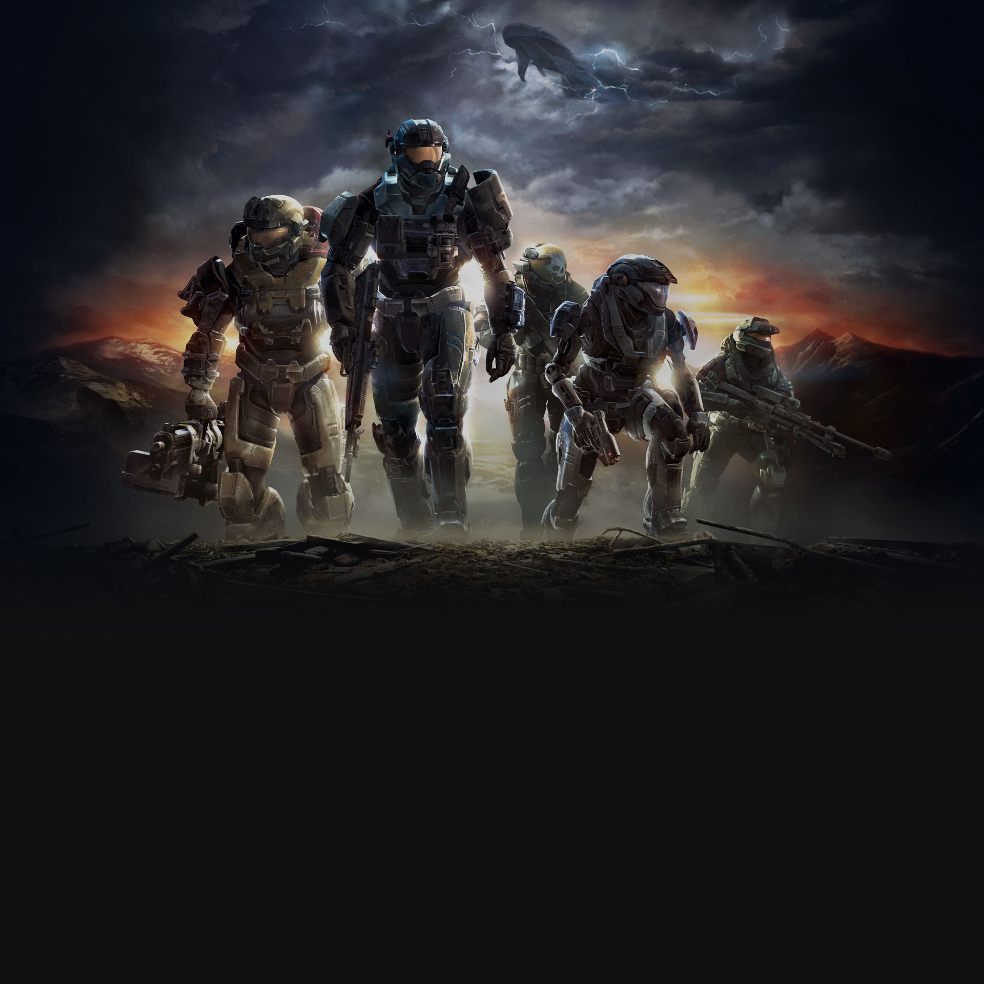 Halo: Reach, Spartans posing on a hill with guns drawn