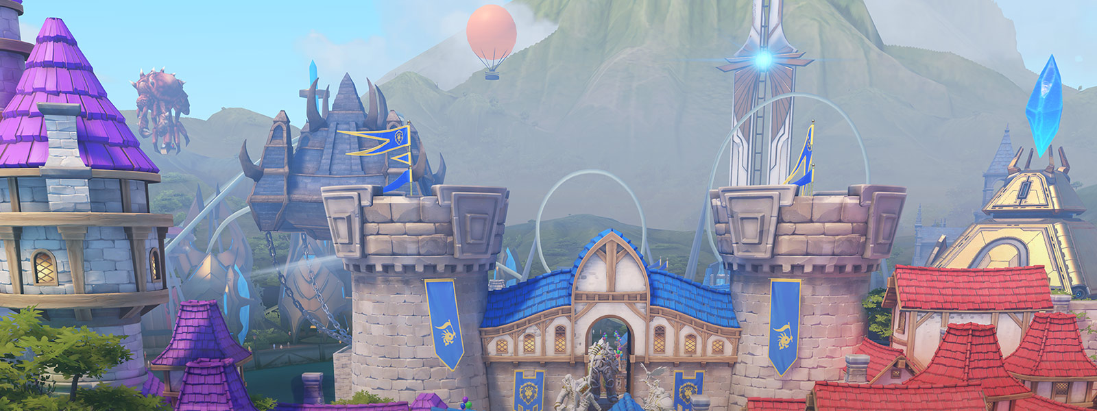 View of Azeroth, Protoss, and Zerg buildings in Blizzard World