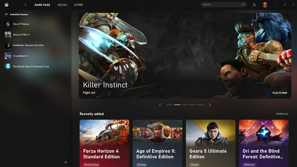Capture de l'application Xbox montrant une collection de jeux installés