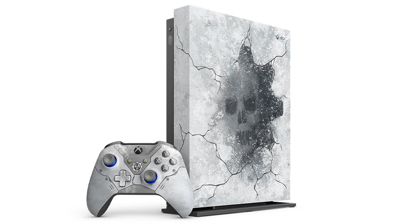 Front view of Xbox One X Gears 5 Limited Edition console and controller