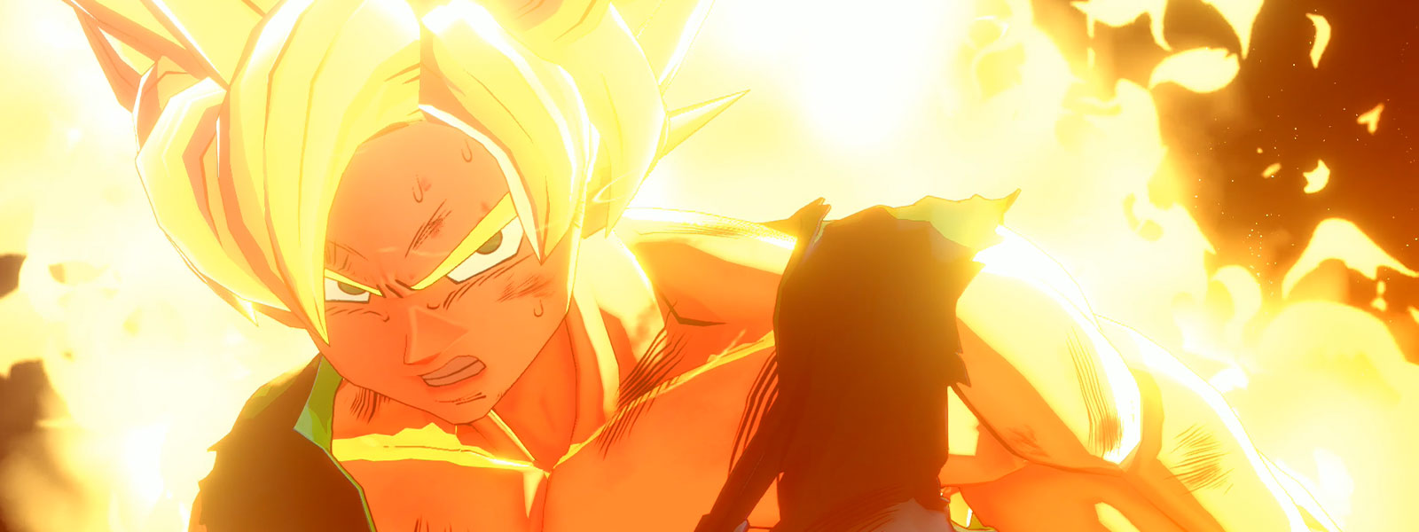 An exhausted Saiyan Goku is surrounded by flames