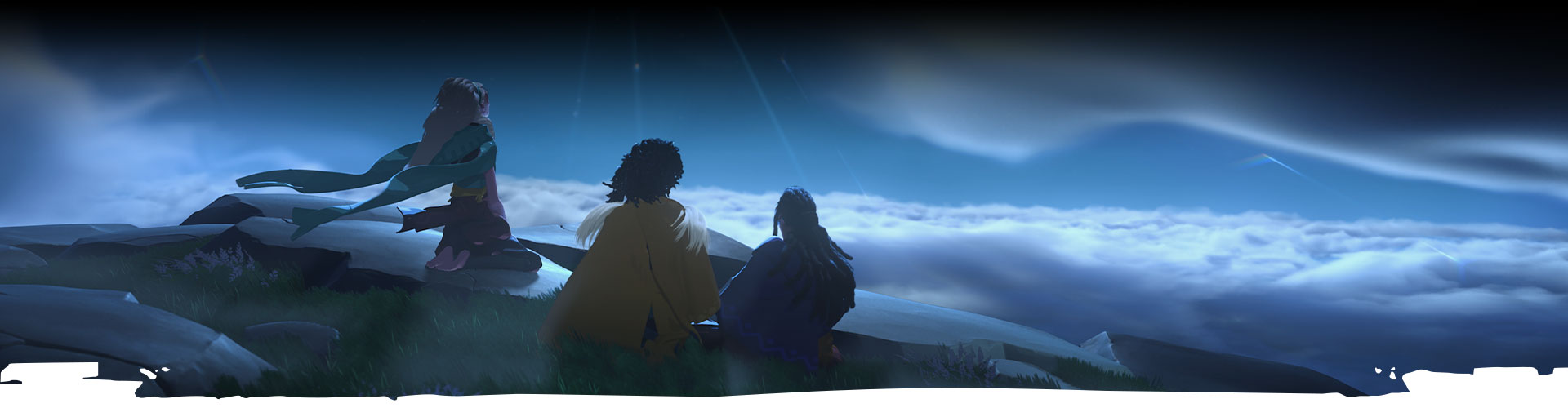 Three characters look up at the night sky.