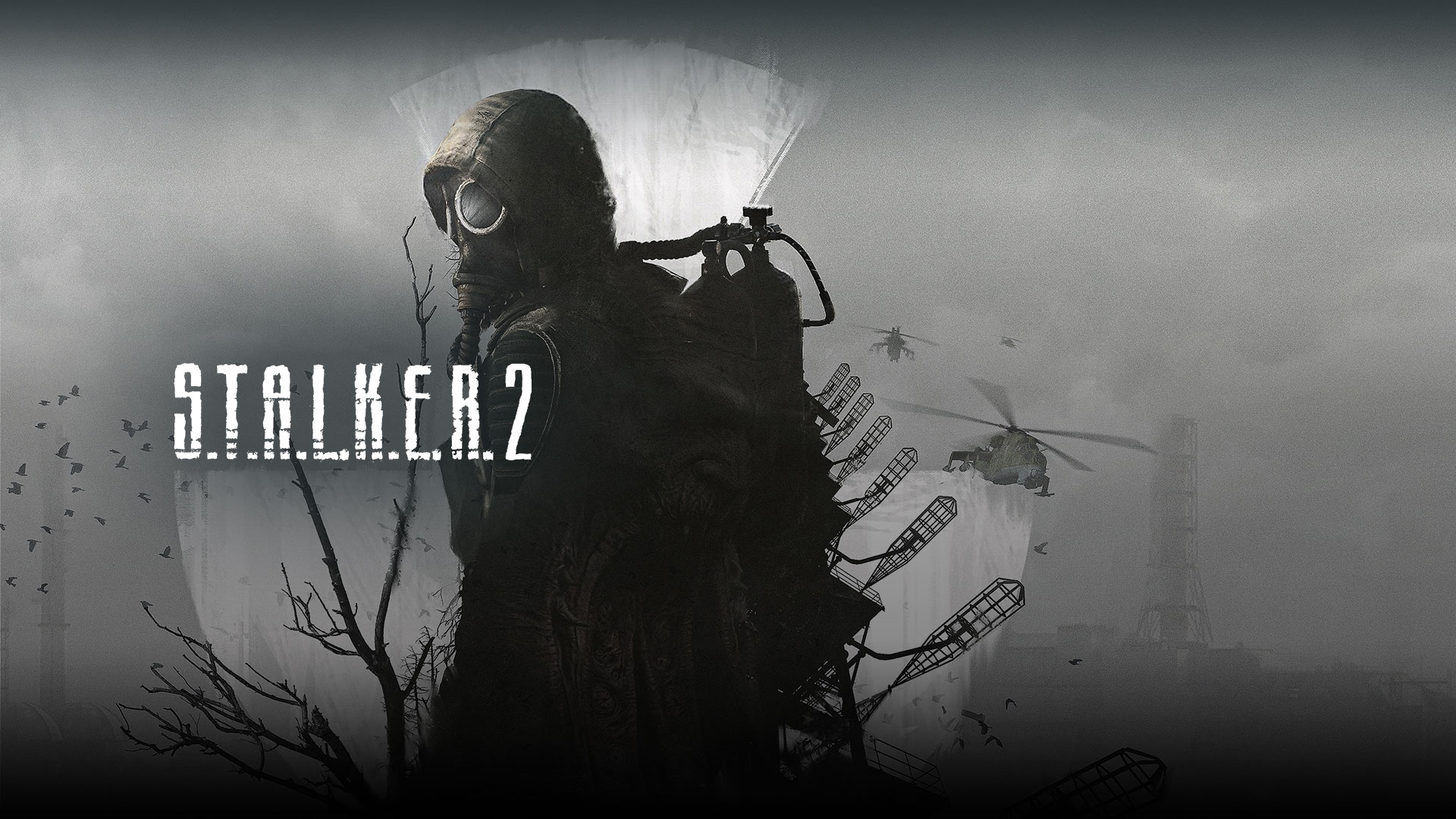 Stalker 2, A characters stands in a gas mask against a grey landscape with helicopters.